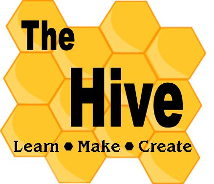 """Yellow hexagons arranged to look like a honeycomb behind """"The Hive, Learn, Make, Create"""" wording."""