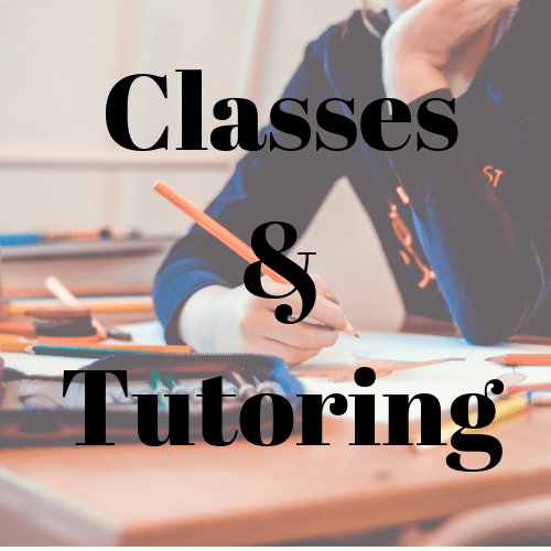 Classes & Tutoring with background of a person drawing