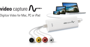 Elgato video capture device connected to phone, tablet and laptop. Digitize video for Mac, PC or iPad.
