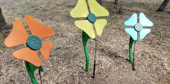 musical flower instruments on children's playground